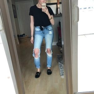 Denim - Distressed light wash jeans (ripped at knees)